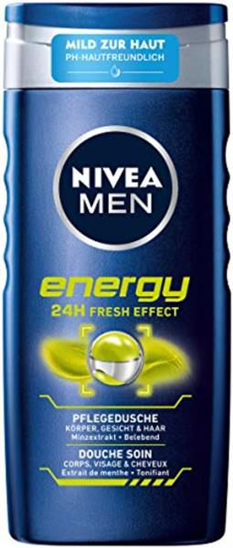 el douche NIVEA MEN Energy Gel douche (250 ml), formule sans particules microplastiques solides